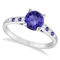 Cathedral Tanzanite & Diamond Engagement Ring 14k White ...