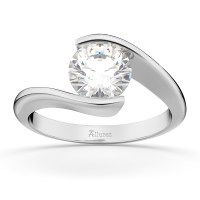 Tension Set Swirl Solitaire Engagement Ring Setting 18k