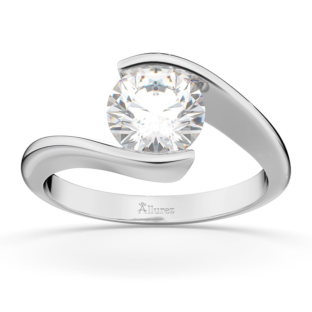 Tension Set Swirl Solitaire Engagement Ring Setting