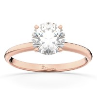 Four-Prong 14k Rose Gold Solitaire Engagement Ring Setting ...