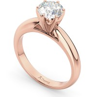 Six-Prong 14k Rose Gold Solitaire Engagement Ring Setting ...