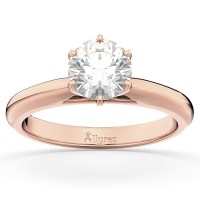 Six-Prong 18k Rose Gold Solitaire Engagement Ring Setting ...