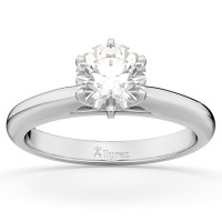 Six-Prong 18k White Gold Solitaire Engagement Ring Setting ...