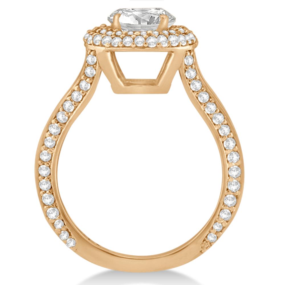 Double Halo Diamond Engagement Ring Setting 14k Rose Gold