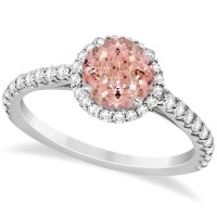 Halo Morganite & Diamond Engagement Ring 14K White Gold 1.60ct