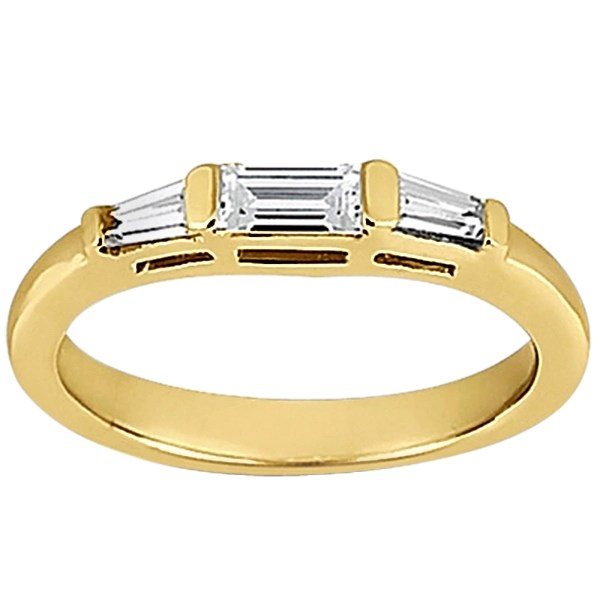 Tapered Baguette Diamond Engagement Ring and Wedding Band