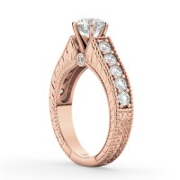 Vintage Diamond Engagement Ring Setting 18k Rose Gold 1