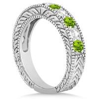 Antique Diamond & Peridot Bridal Wedding Ring Set 14k ...