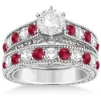 Antique Diamond & Ruby Bridal Wedding Ring Set 18k White