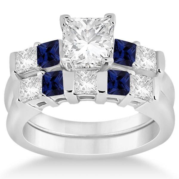 5 Stone Diamond & Blue Sapphire Bridal Set 14K White Gold