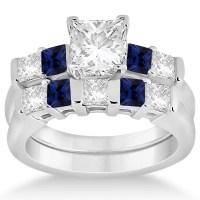 5 Stone Diamond & Blue Sapphire Bridal Set 14K White Gold ...