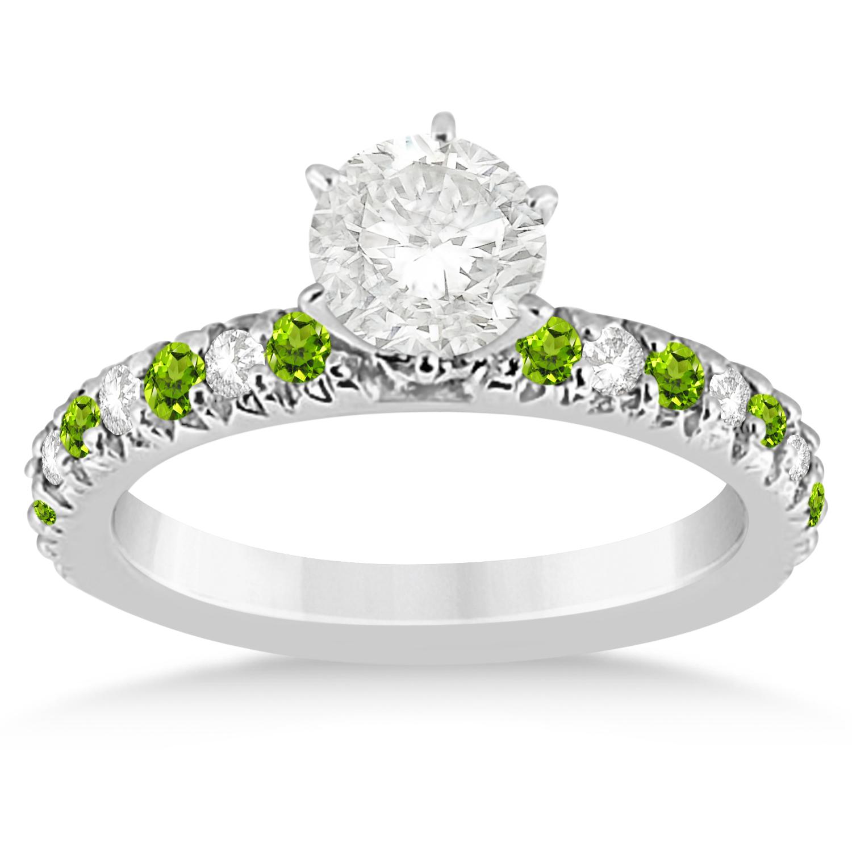 Peridot & Diamond Engagement Ring Setting 14k White Gold 0