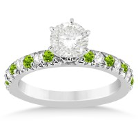 Peridot & Diamond Engagement Ring Setting 14k White Gold 0