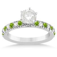 Peridot & Diamond Engagement Ring Setting 14k White Gold 0 ...