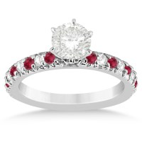 Ruby & Diamond Engagement Ring Setting 14k White Gold 0