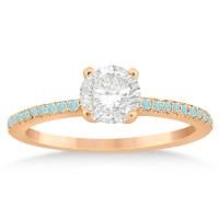 Aquamarine Accented Engagement Ring Setting 18k Rose Gold ...