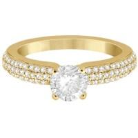 Triple Row Micro Pave Diamond Engagement Ring 14K Yellow ...