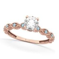 Vintage Diamond & Aquamarine Engagement Ring 18k Rose Gold ...