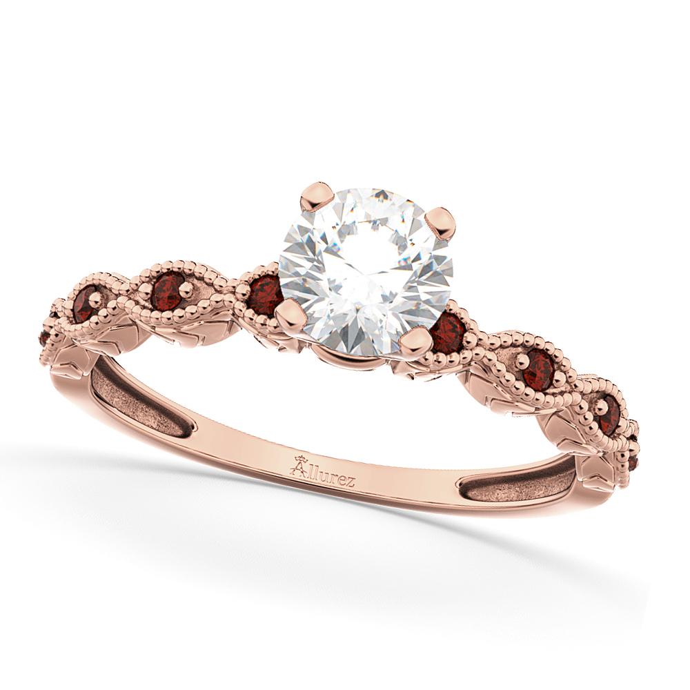 Vintage Diamond Amp Garnet Engagement Ring 18k Rose Gold 1