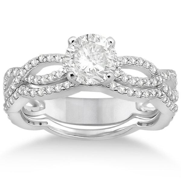 Infinity Diamond Engagement Ring With Band 14k White Gold