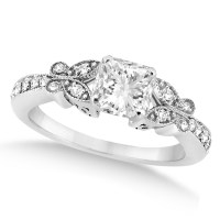 Princess-Cut Diamond Butterfly Engagement Ring 14k White ...