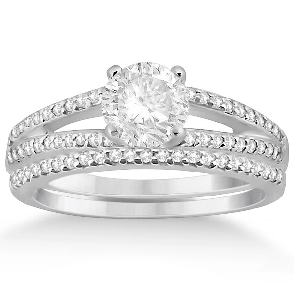 Split Shank Pave Set Diamond Engagement Ring & Wedding