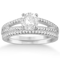 Split Shank Pave Set Diamond Engagement Ring & Wedding