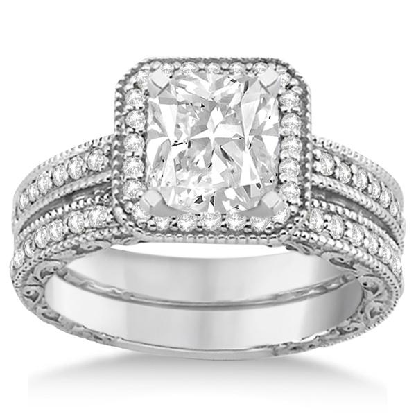 Square Halo Wedding Band  Engagement Ring 14kt White Gold 052ct  U3258
