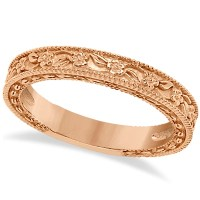 Carved Floral Designed Wedding Band Anniversary Ring 14K ...
