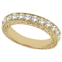 Antique Style Pave Set Wedding Ring Band 18k Yellow Gold ...