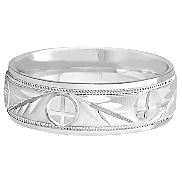 Mens Christian Leaf and Cross Wedding Band 14k White Gold 7mm  UB1169