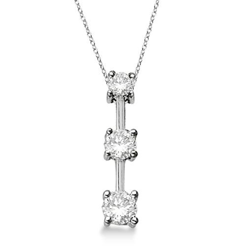 Three-Stone Graduated Diamond Pendant Necklace 14k White