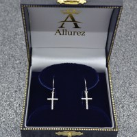 Dangle Christian Diamond Cross Earrings 14K White Gold 0