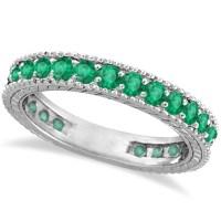 Emerald Eternity Ring Anniversary Ring Band 14k White Gold ...