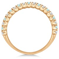 Aquamarine & Diamond Wedding Band Anniversary Ring 14k ...