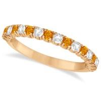 Citrine & Diamond Wedding Band Anniversary Ring 14k Rose ...