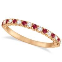 Ruby & Diamond Wedding Band Anniversary Ring 14k Rose Gold ...