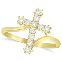 Diamond Religious Cross Twisted Ring 14k Yellow Gold (0