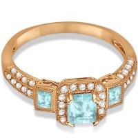 Aquamarine & Diamond Engagement Ring in 14k Rose Gold 1 ...