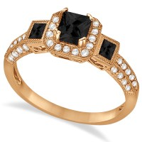 Black Diamond & Diamond Engagement Ring 14k Rose Gold 1