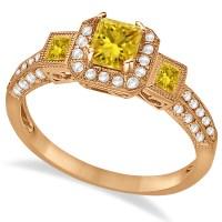 Yellow Sapphire & Diamond Engagement Ring 14k Rose Gold 1