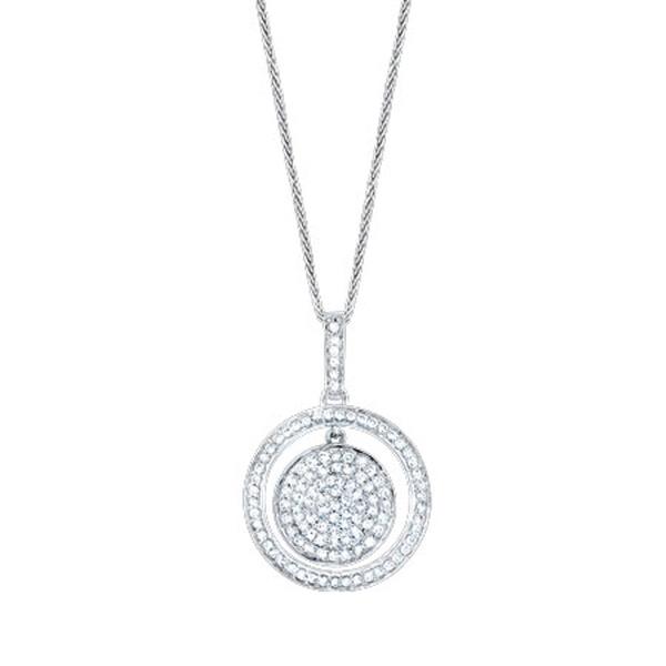 0.65ct 14k White Gold Diamond Pendant Necklace