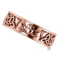 Claddagh & Celtic Knot Eternity Wedding Band 14k Rose Gold ...
