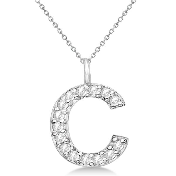 Customized Block-Letter Pave Diamond Initial Pendant 14k