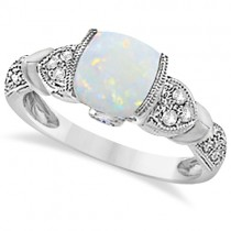 Tanzanite, Diamond and Opal Ring 14k White Gold (1.10ct)