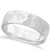 Men's Hammered Finished Carved Band Wedding Ring Palladium (7mm)