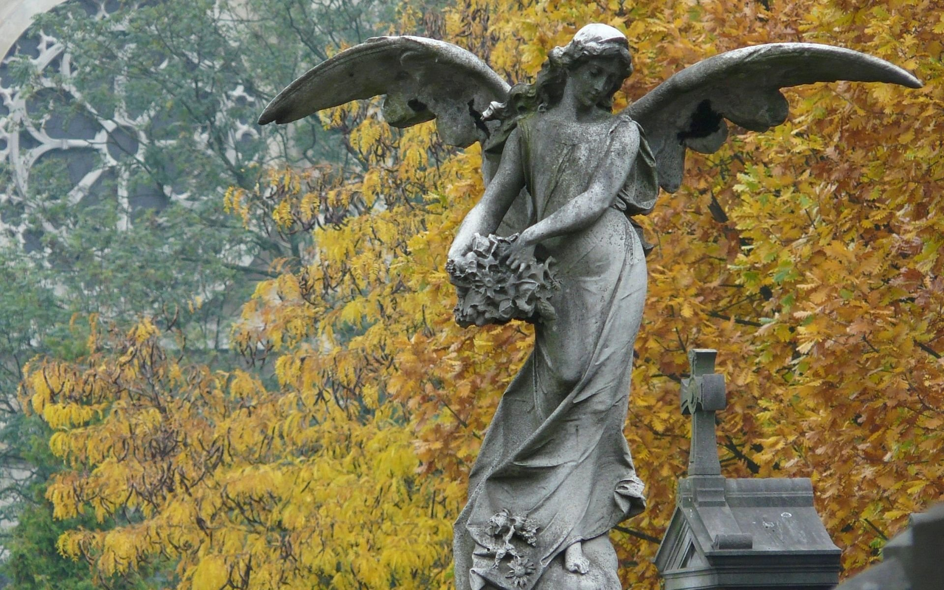 Autumn Falling Leaves Wallpaper Angel Statue Hd Wallpaper Background Image 1920x1200