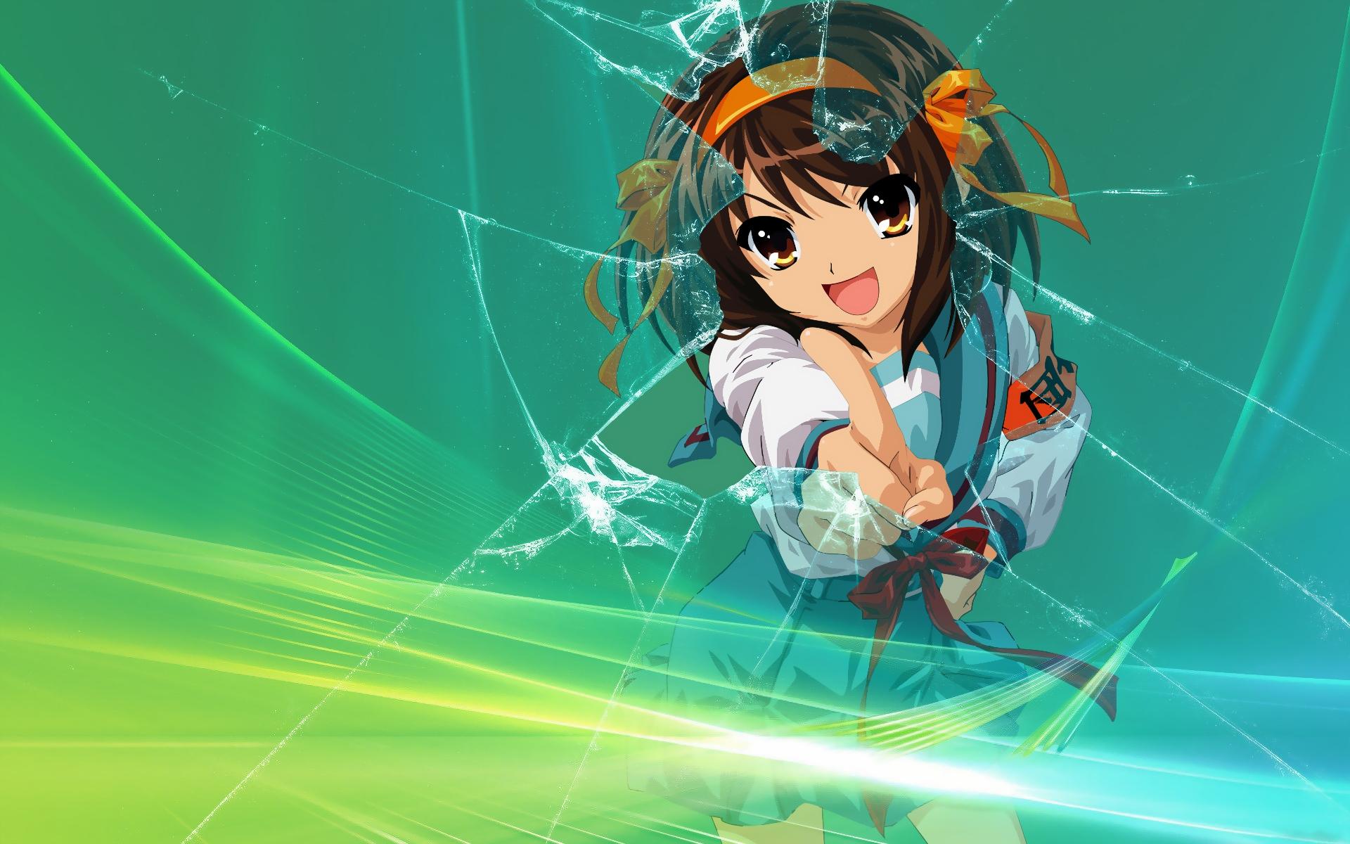 Anime Wallpaper Girls Hair Short Black Eyes Brown The Melancholy Of Haruhi Suzumiya Hd Wallpaper