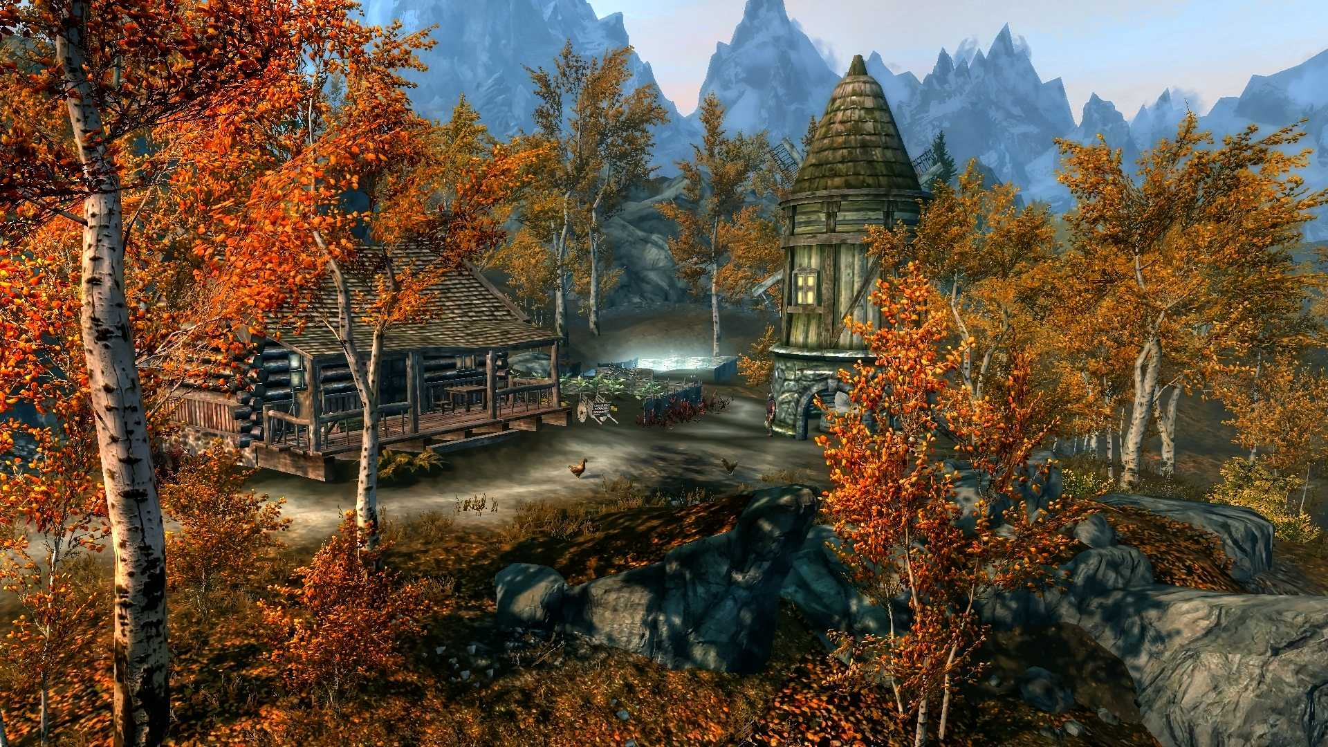 Fall Scene Desktop Wallpaper The Elder Scrolls V Skyrim Full Hd Обои And Фон