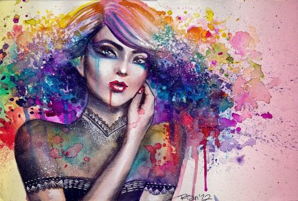 Beautiful Colorful Art HD Women Face